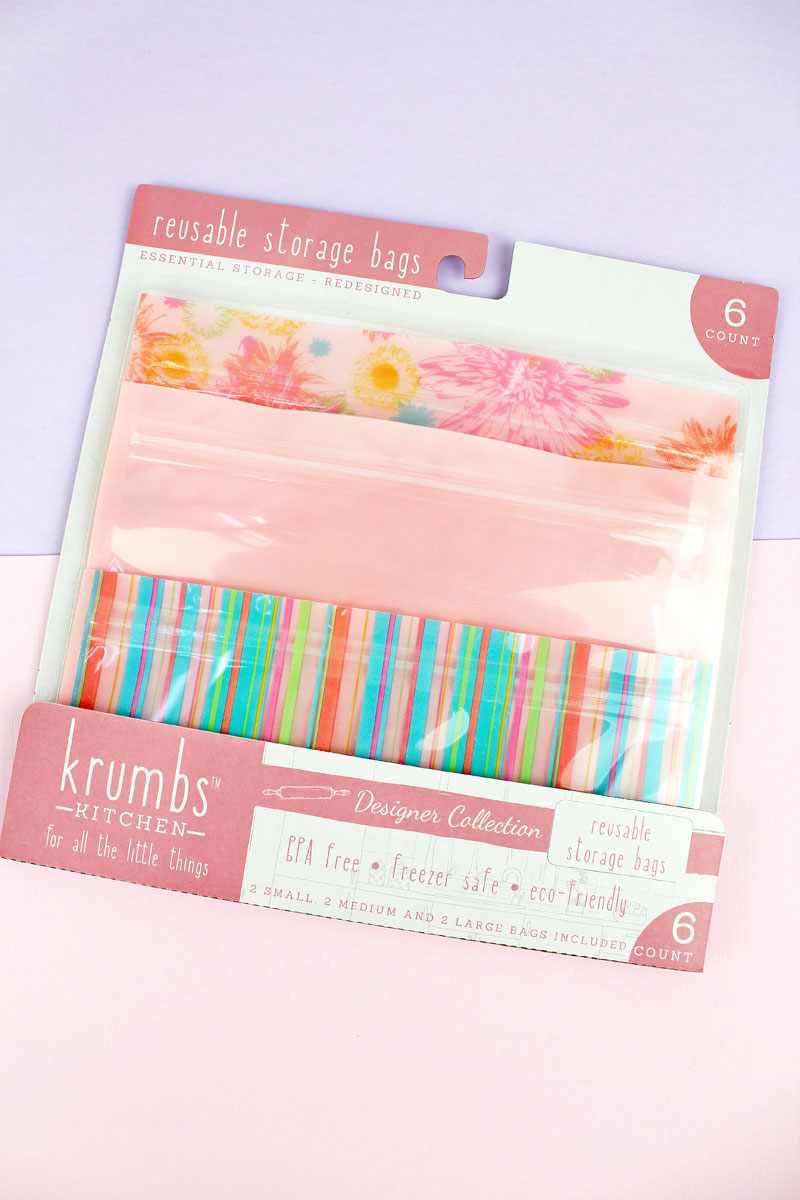 Pack of 6 Pink Floral Stripes Reusable Storage Bags
