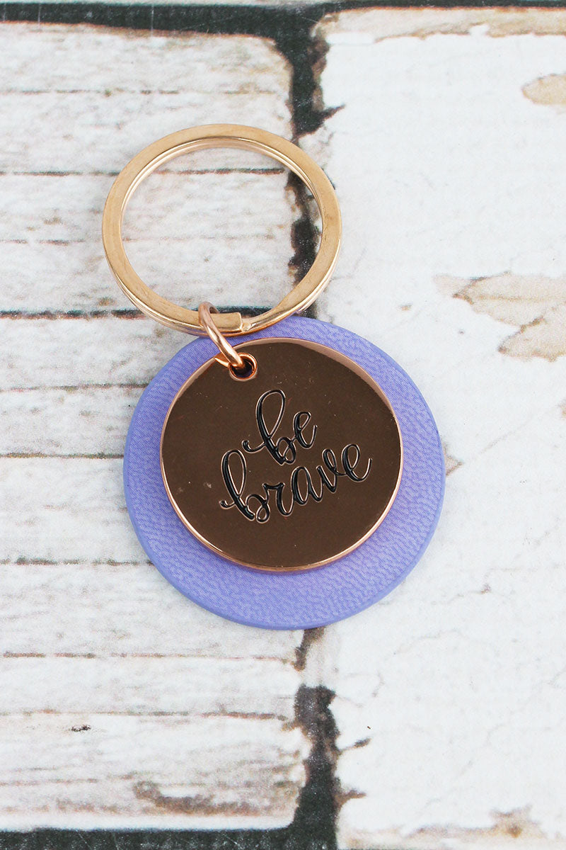Rose Goldtone 'Be Brave' and Purple Faux Leather Layered Disk Keyring
