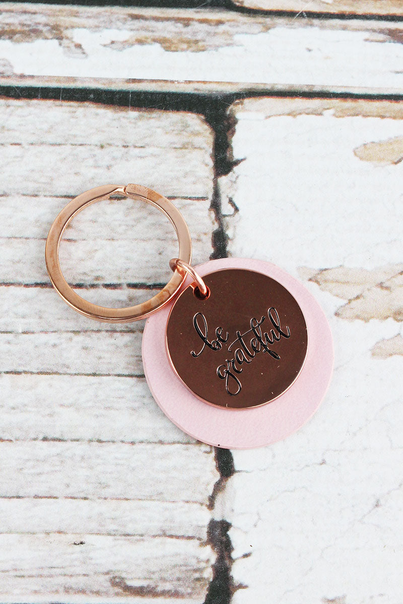 Rose Goldtone 'Be Grateful' and Pink Faux Leather Layered Disk Keyring