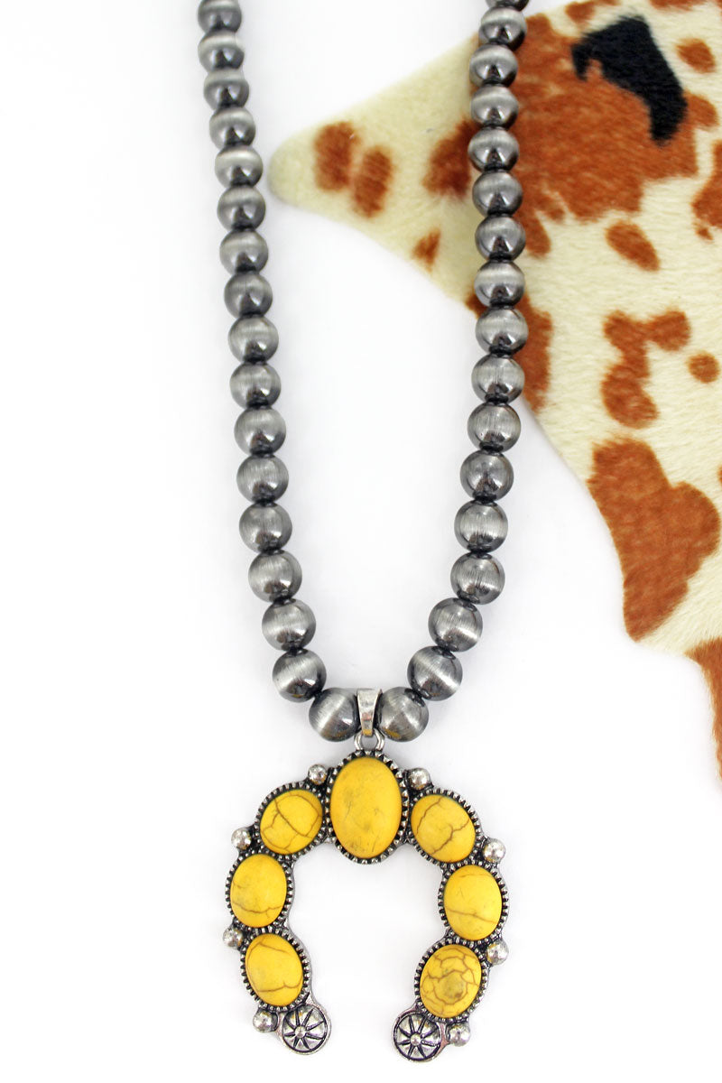 Stonecrest Yellow Naja Silver Pearl Necklace