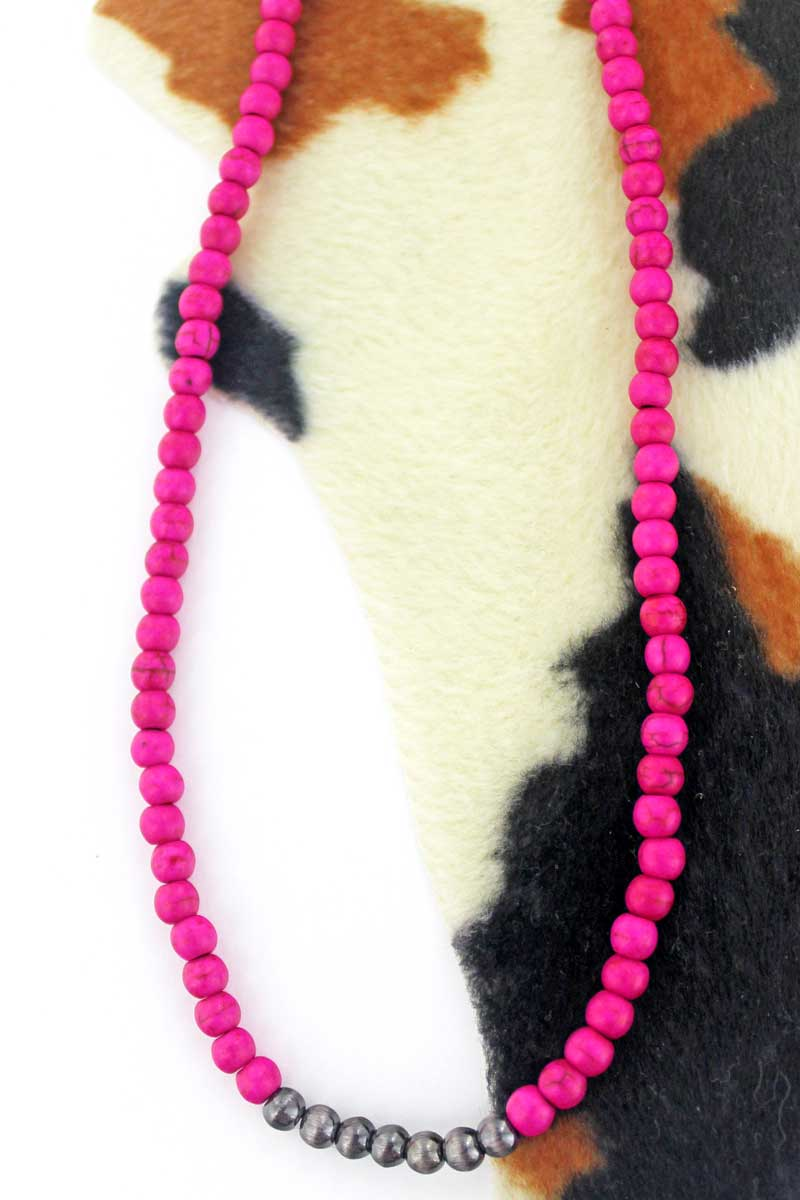 Silver Navajo Inspired Pearl and Fuchsia Pink Stone Choker