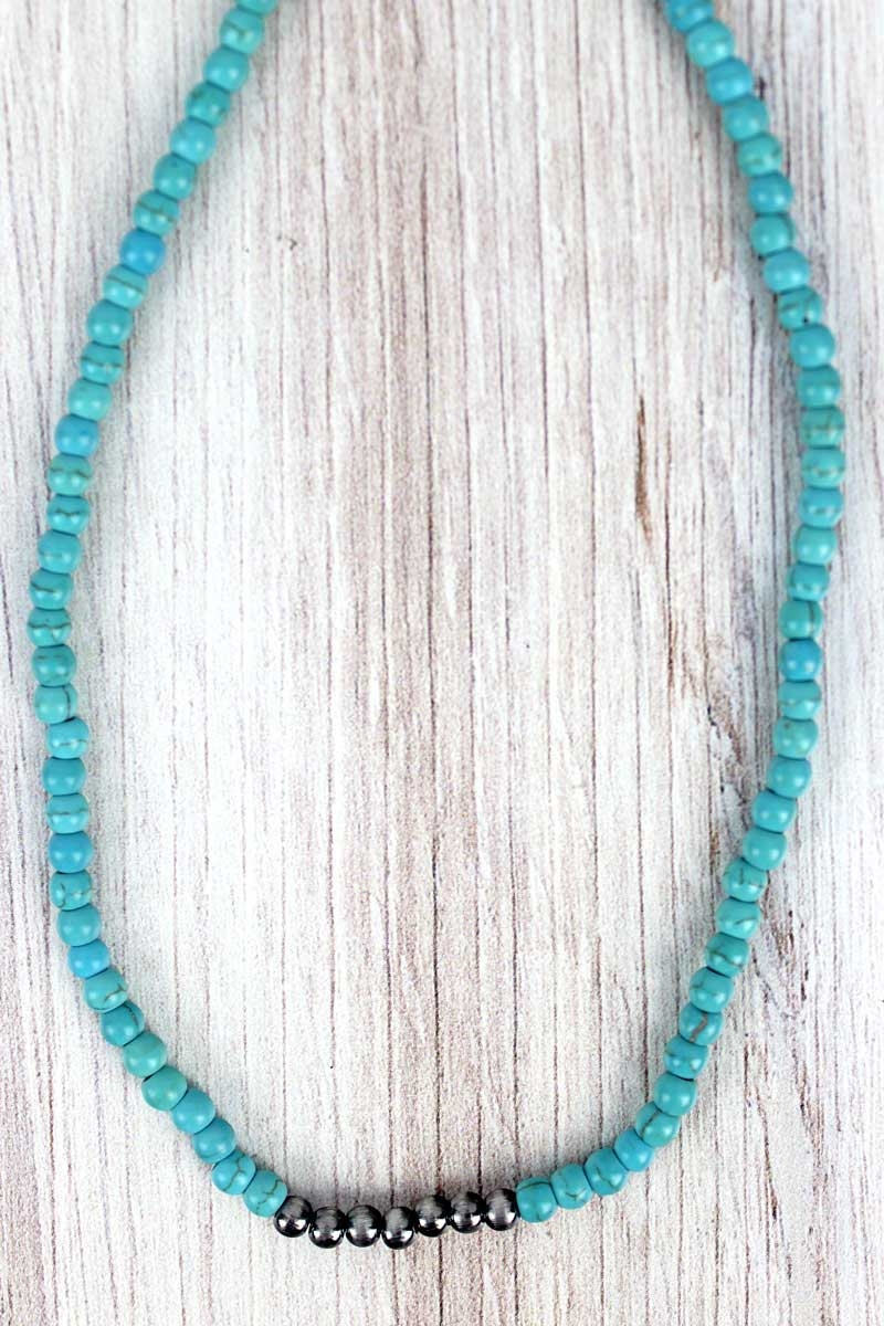 Silver Navajo Inspired Pearl and Turquoise Stone Choker