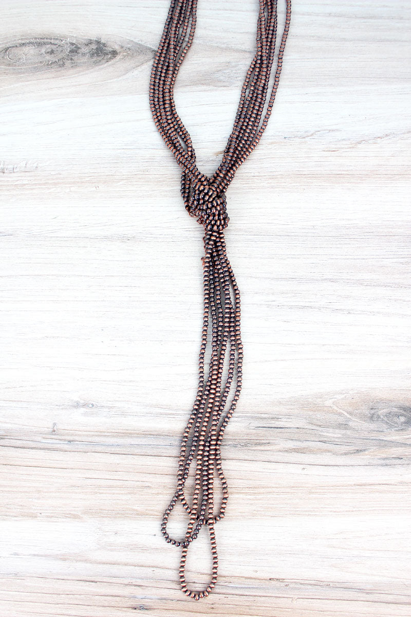 Copper Navajo Inspired Pearl Knotted Multi-Strand Necklace