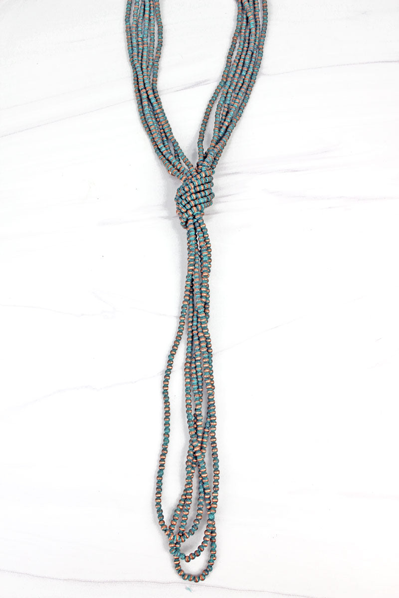 Patina Navajo Inspired Pearl Knotted Multi-Strand Necklace