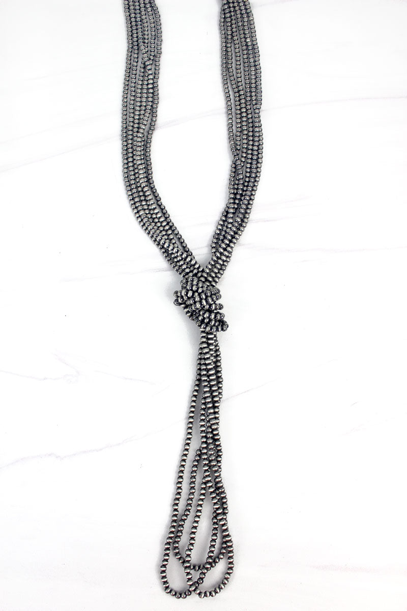 Silver Navajo Inspired Pearl Knotted Multi-Strand Necklace