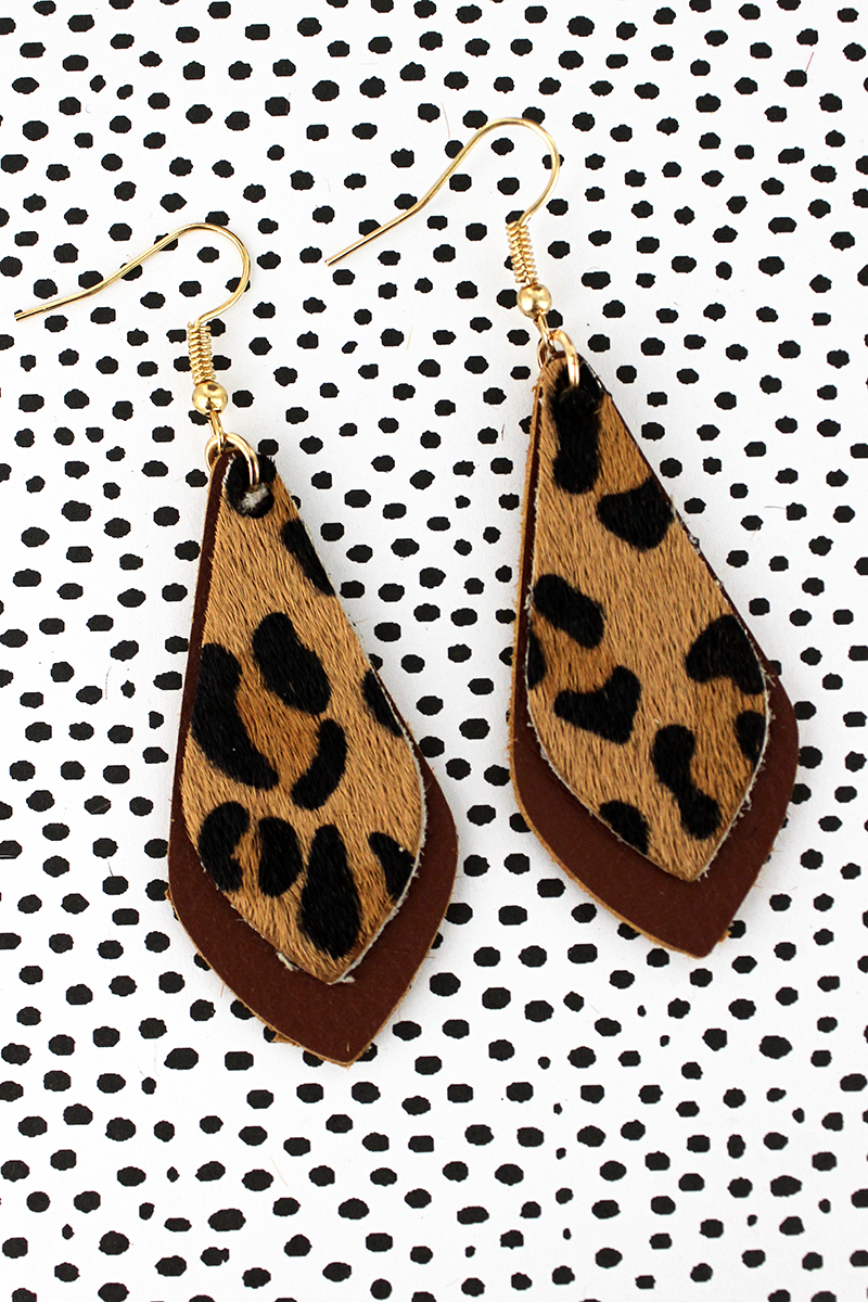 Leopard and Brown Faux Leather Layered Teardrop Earrings