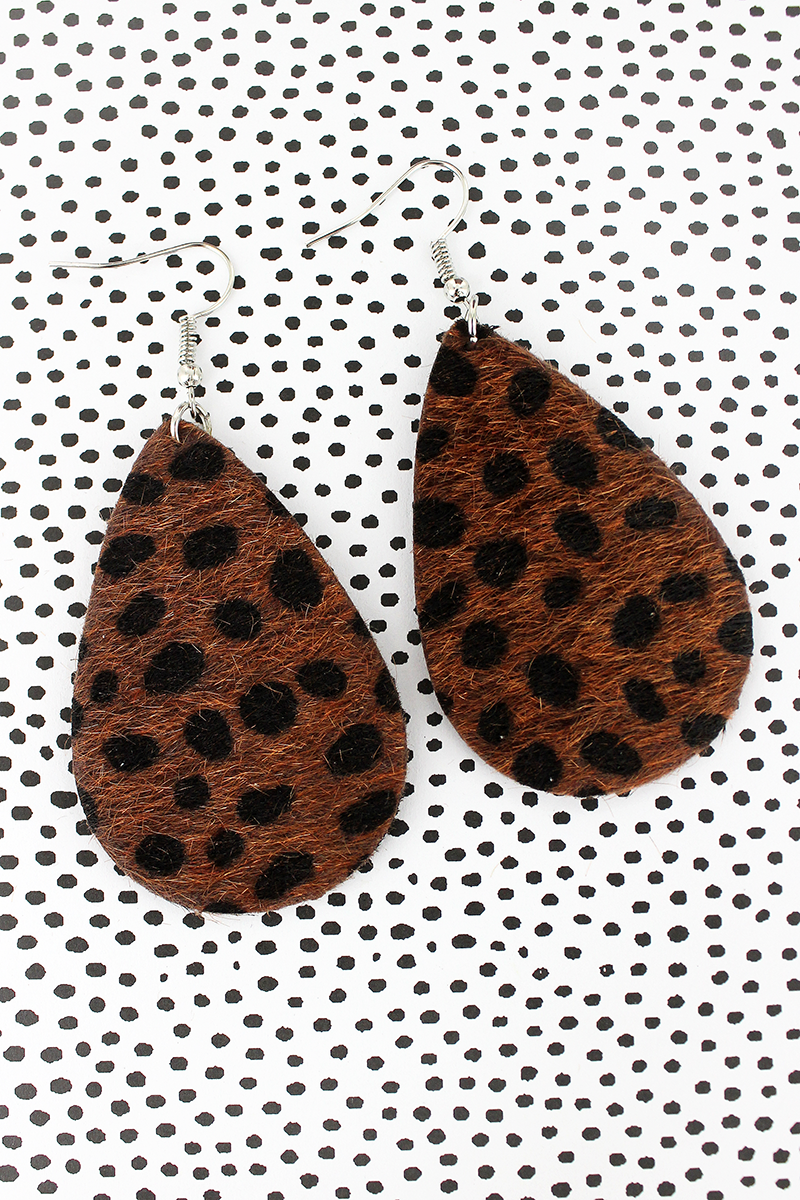Dark Cheetah Teardrop Earrings