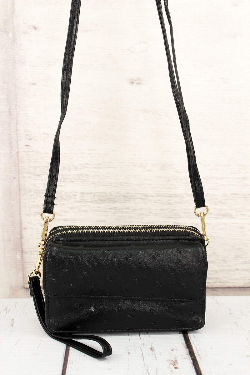 Black Faux Ostrich Leather Crossbody Clutch Wallet