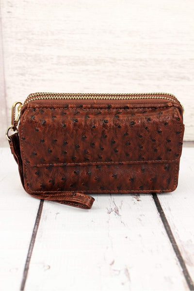 Brown Faux Ostrich Leather Crossbody Organizer Clutch