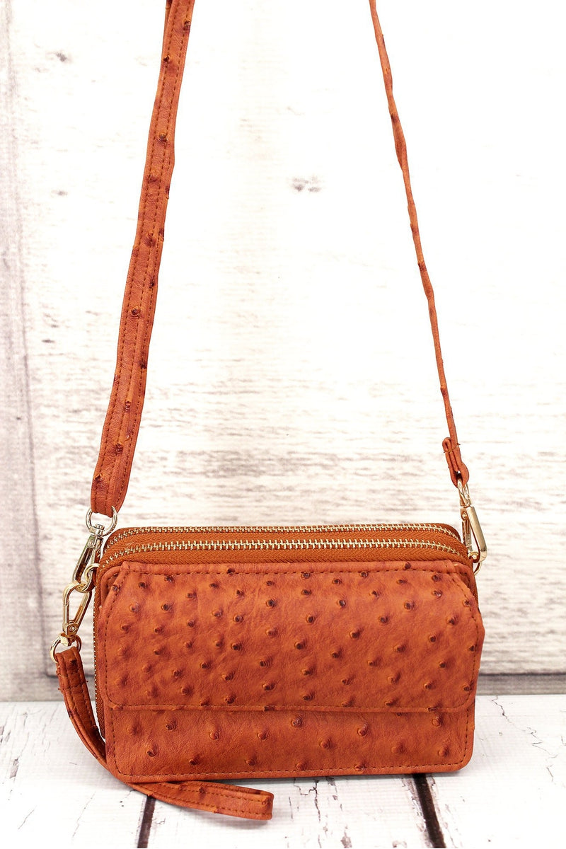 Light Brown Faux Ostrich Leather Crossbody Organizer Clutch