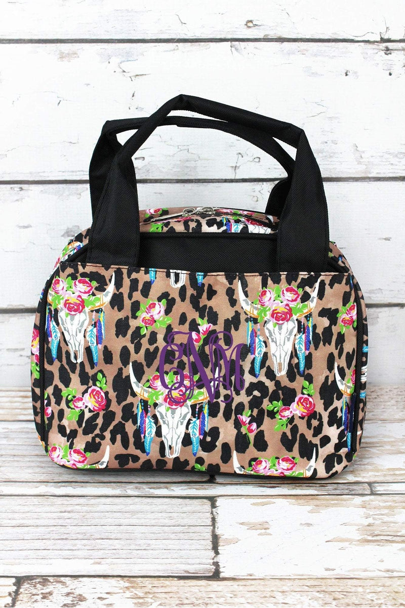 NGIL Free Spirit Steer Leopard Insulated Bowler Style Lunch Bag