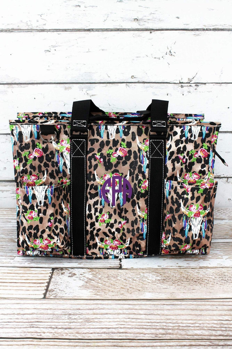 NGIL Free Spirit Steer Leopard Utility Tote with Black Trim
