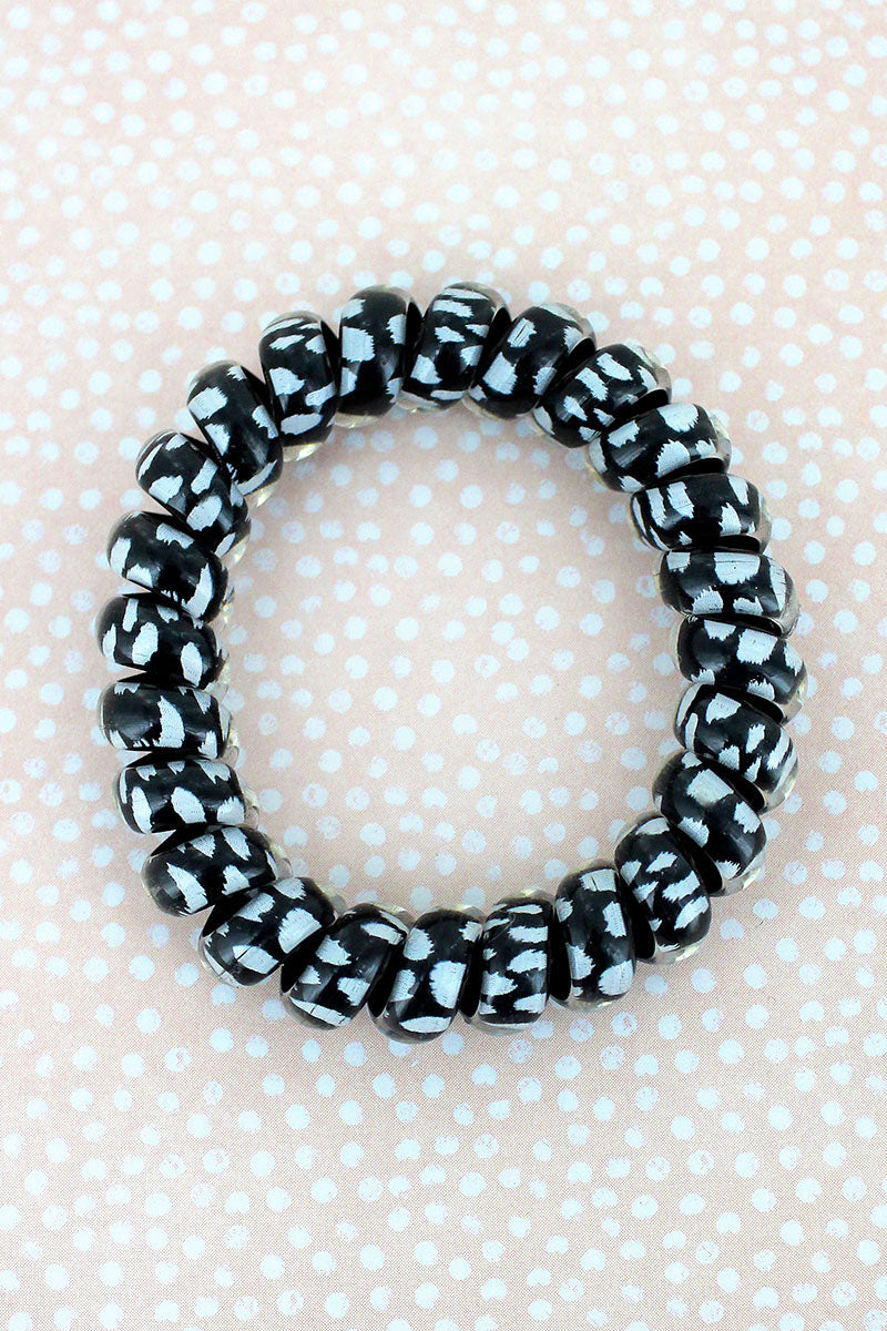 Black Cheetah TeleCord Bracelet/Hair Tie