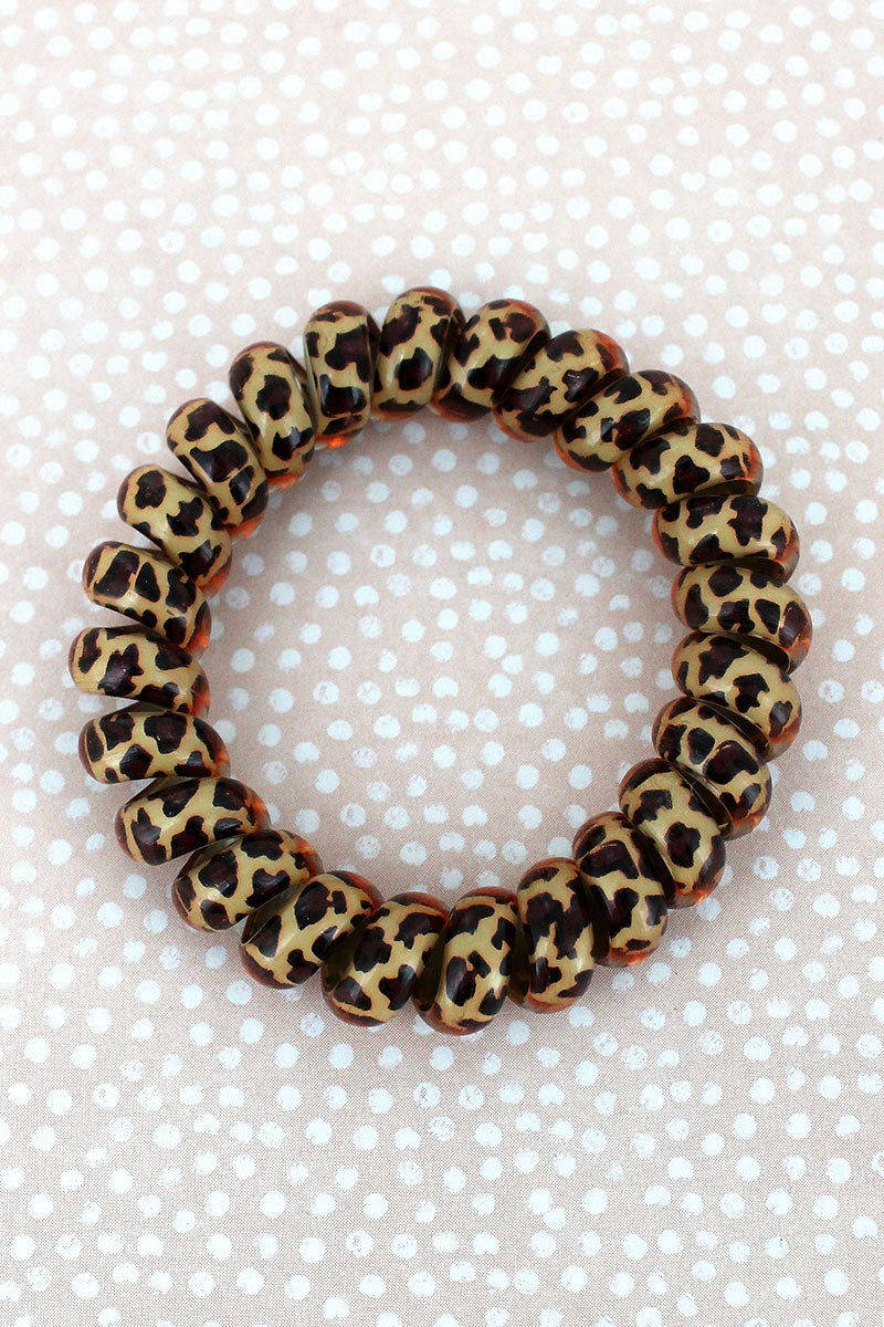 Brown Leopard TeleCord Bracelet/Hair Tie