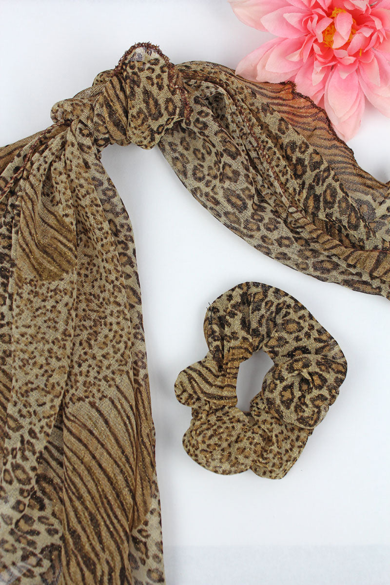 On A Safari Scarf and Scrunchie Set, Brown