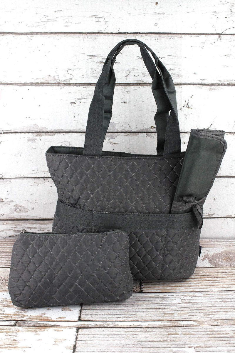 NGIL Gray Quilted Diaper Bag