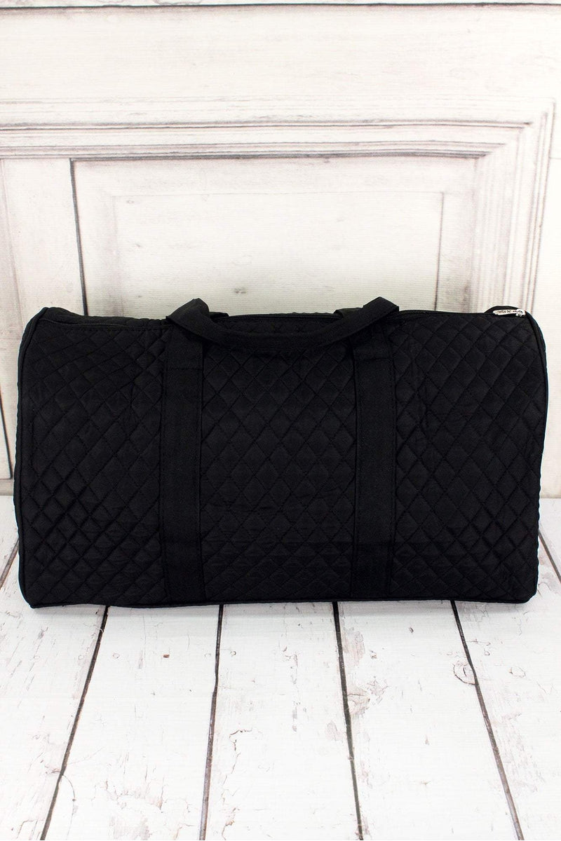 "Black Quilted Duffle Bag 21"" #LM2626-BLACK"