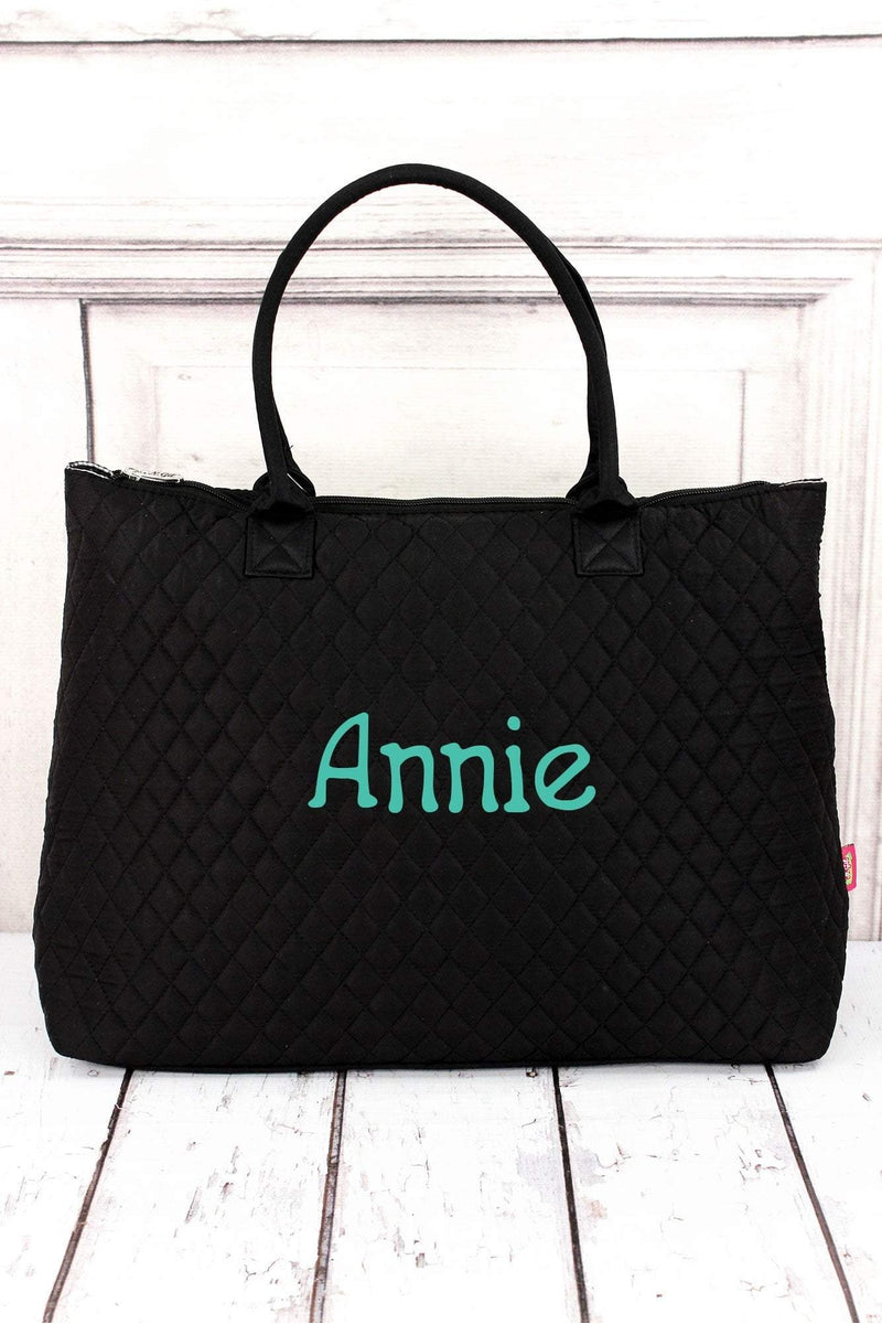 Black Quilted Large Shoulder Tote #LM3907-BLACK