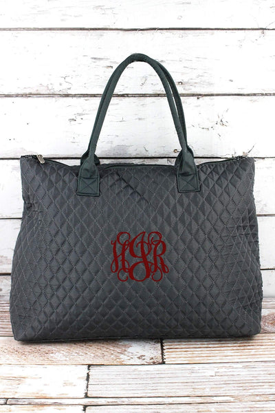 NGIL Gray Quilted Large Shoulder Tote
