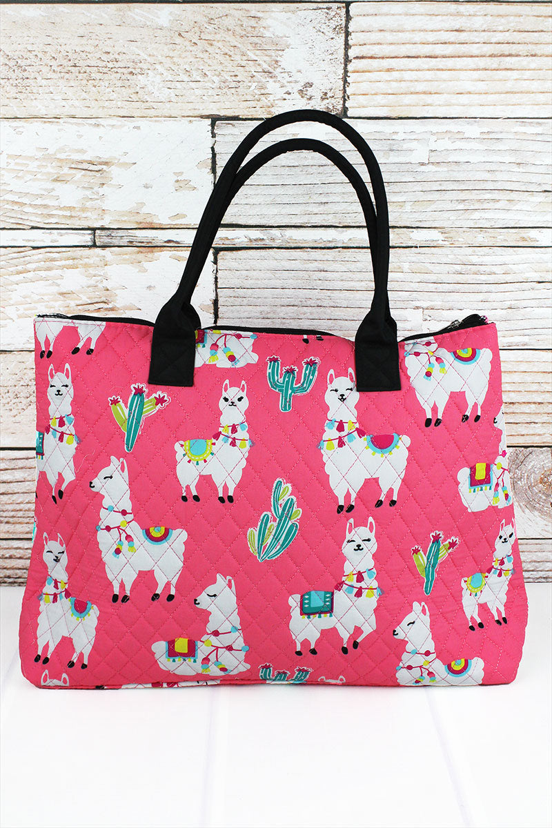 Llovely Llamas Quilted Large Shoulder Tote