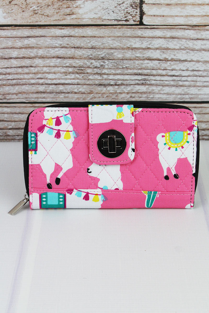 Llovely Llamas Quilted Organizer Clutch Wallet