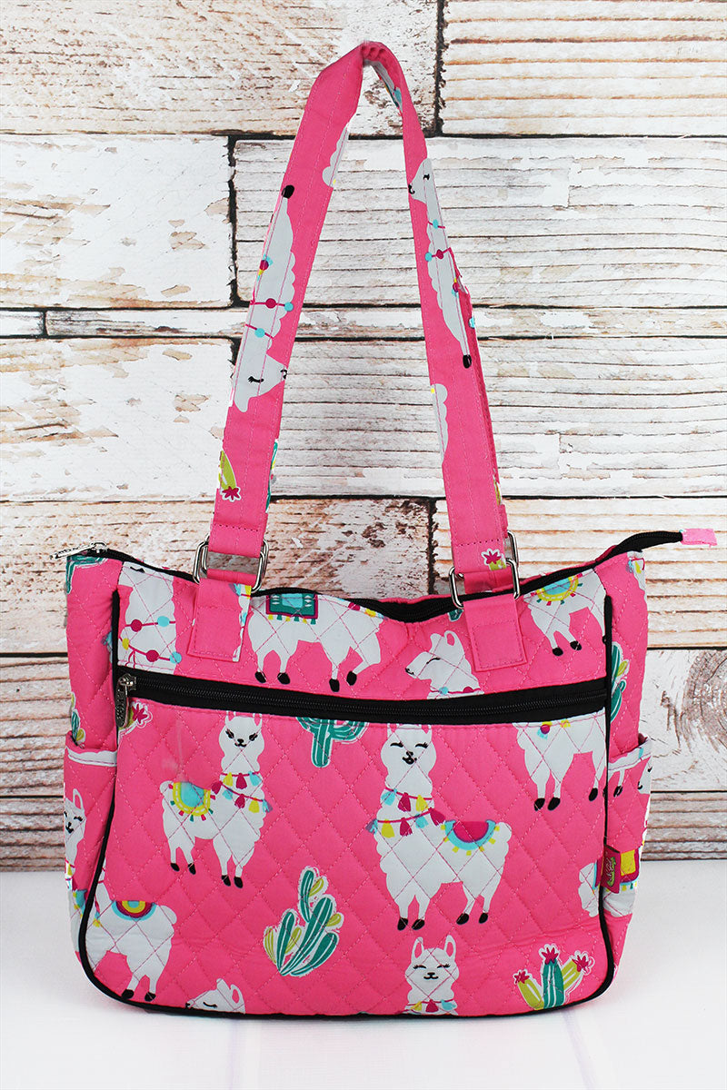 Llovely Llamas Quilted Shoulder Tote