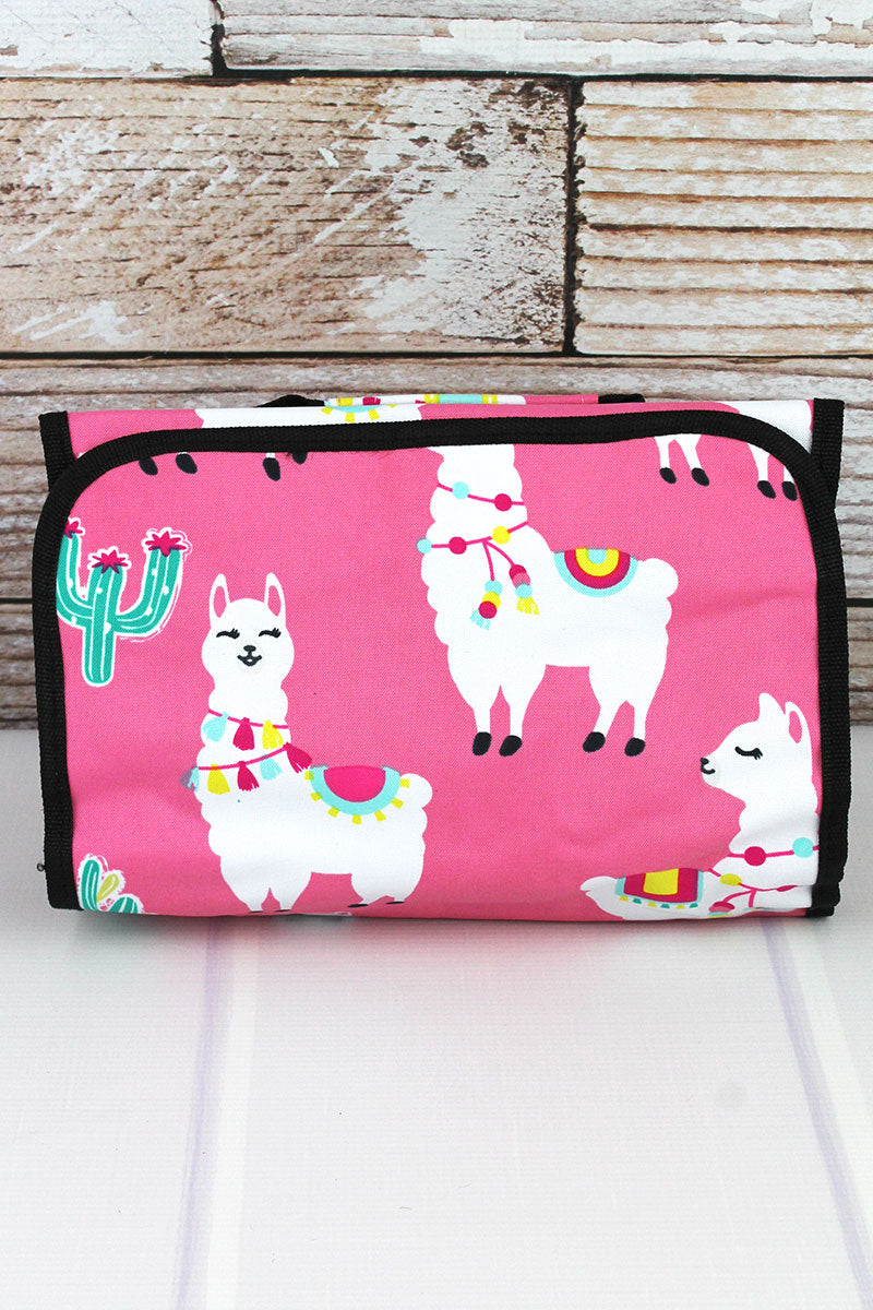 Llovely Llamas Roll Up Cosmetic Bag