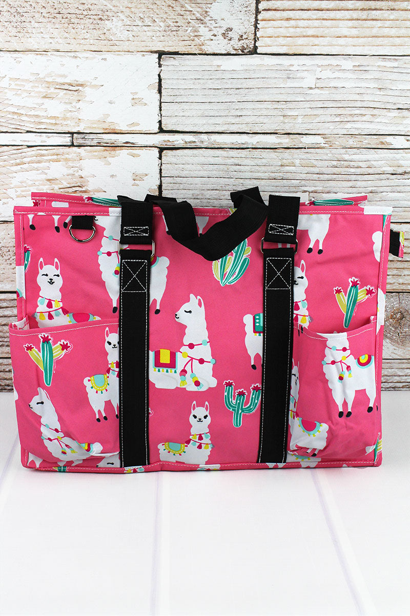 NGIL Llovely Llamas with Black Trim Large Organizer Tote