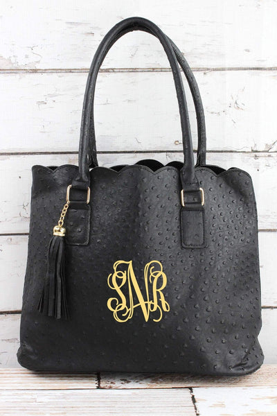 NGIL Black Faux Ostrich Leather Scalloped Tote