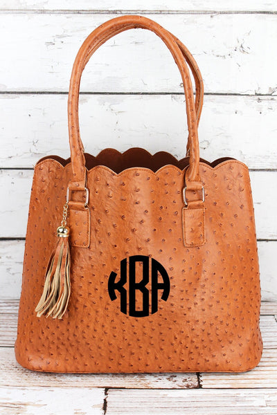 NGIL Light Brown Faux Ostrich Leather Scalloped Tote