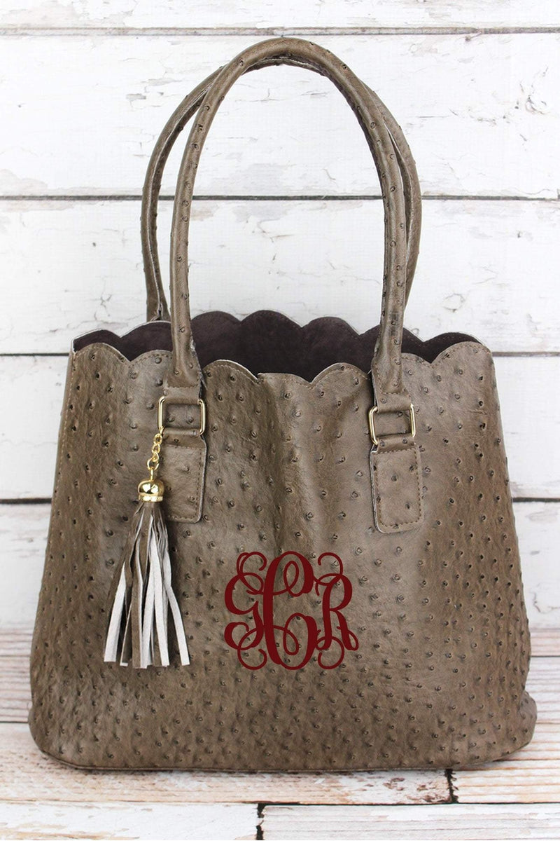 NGIL Taupe Gray Faux Ostrich Leather Scalloped Tote