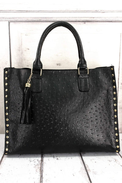 NGIL Black Faux Ostrich Leather Studded 2-in-1 Tassel Tote