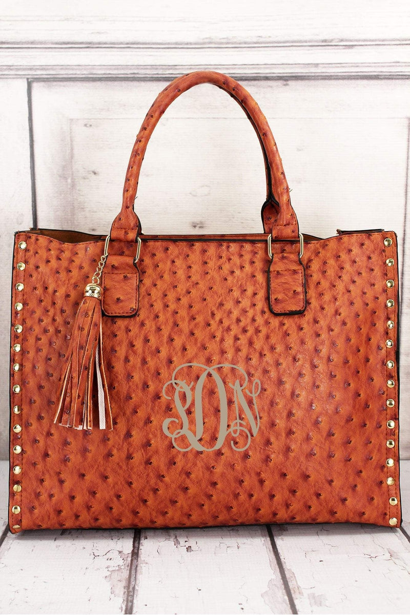 NGIL Light Brown Faux Ostrich Leather Studded 2-in-1 Tassel Tote