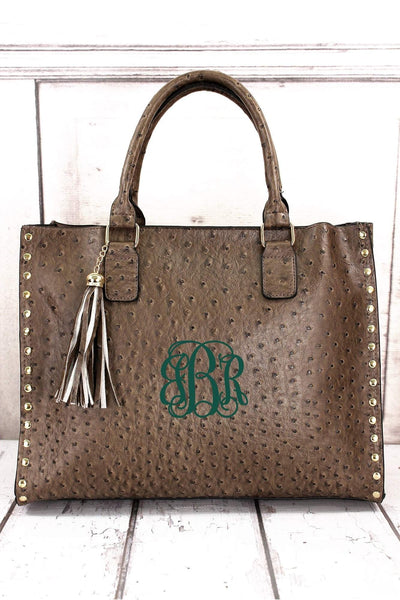 NGIL Taupe Gray Faux Ostrich Leather Studded 2-in-1 Tassel Tote