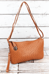 NGIL Light Brown Faux Ostrich Leather Buckle Lock Crossbody Clutch