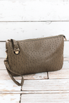 NGIL Taupe Gray Faux Ostrich Leather Buckle Lock Crossbody Clutch