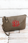 Taupe Gray Faux Ostrich Leather Buckle Lock Crossbody Clutch