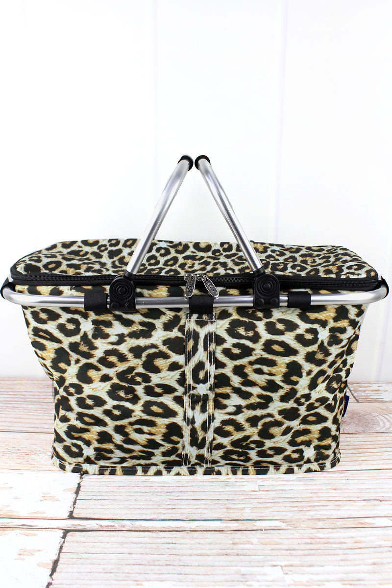 NGIL Leopard Collapsible Insulated Market Basket with Lid