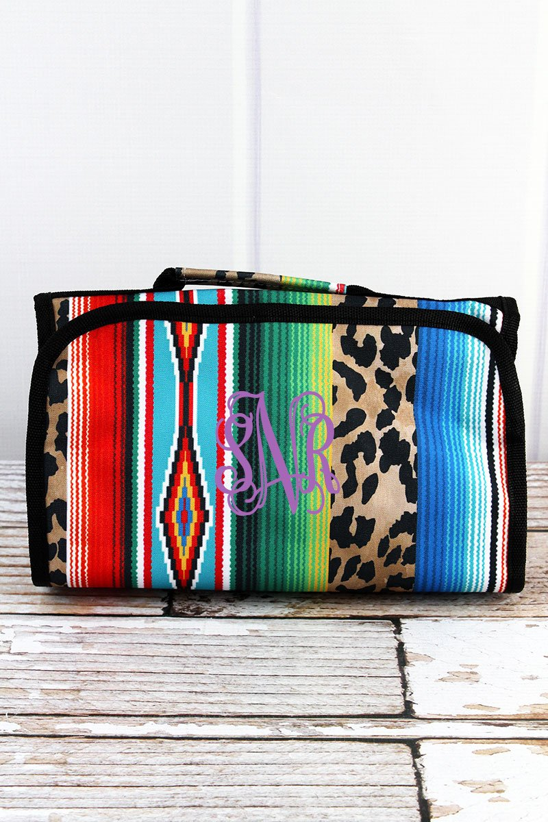 NGIL Wild Serape Roll Up Cosmetic Bag with Black Trim
