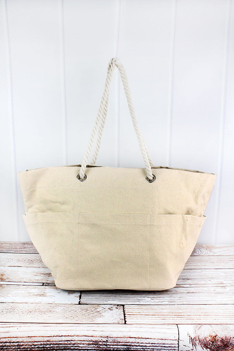 NGIL Canvas Rope Handle Beach Tote