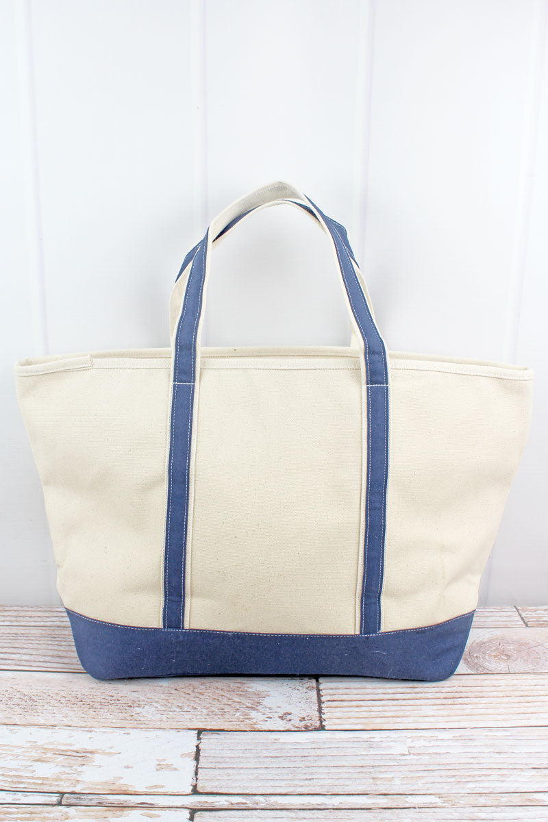 Canvas Boat Tote with Navy Trim