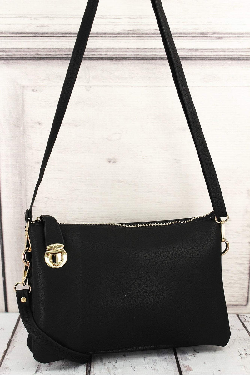 NGIL Black Faux Leather Buckle Lock Crossbody Clutch