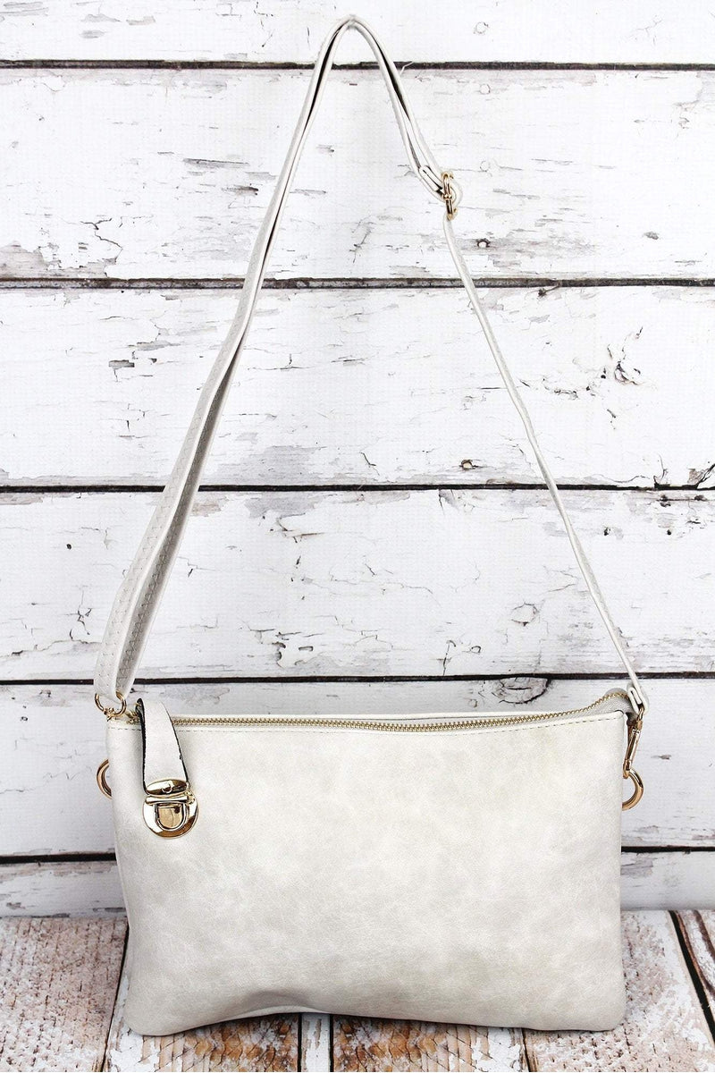 NGIL Cloud Faux Leather Buckle Lock Crossbody Clutch