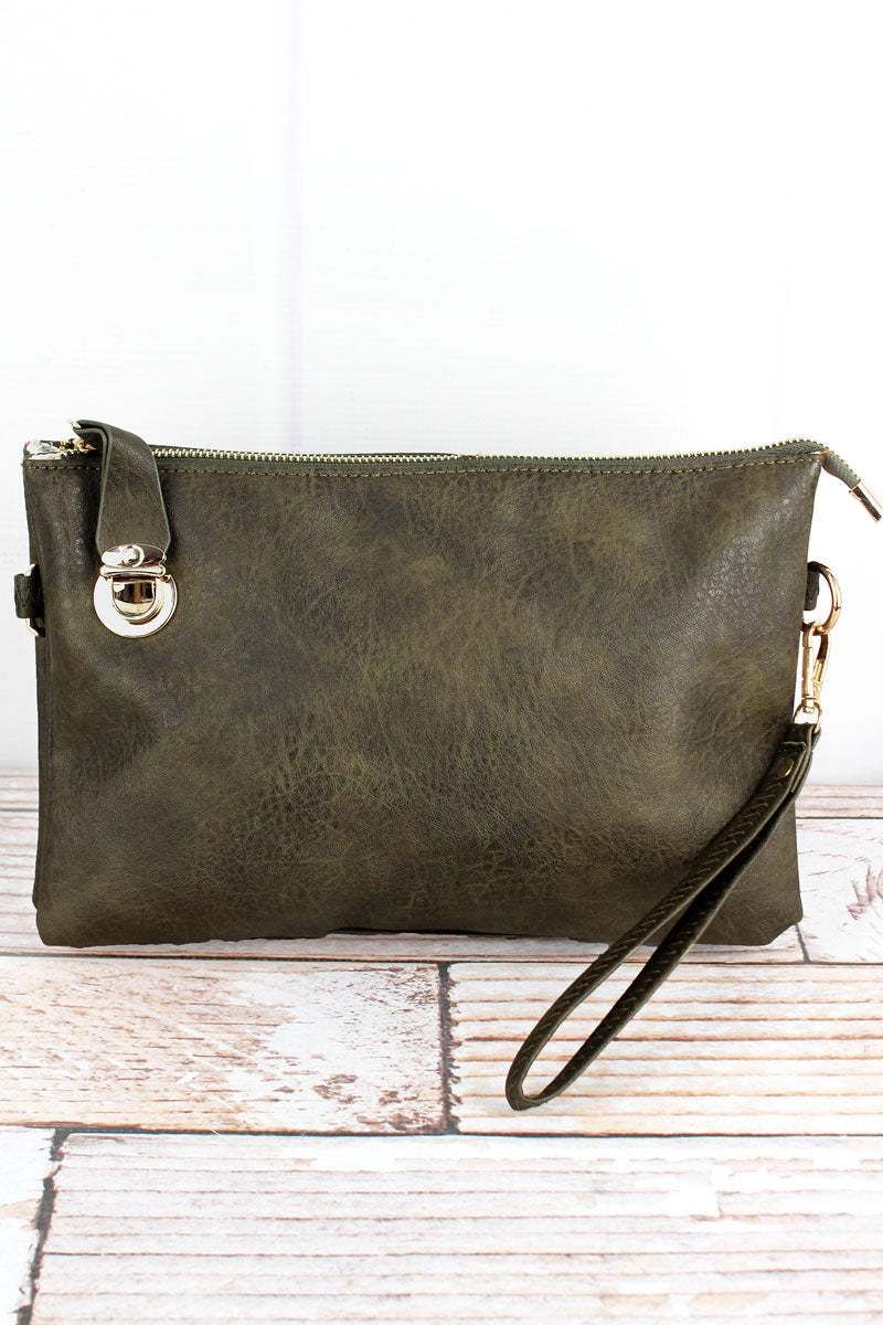 NGIL Dark Olive Faux Leather Buckle Lock Crossbody Clutch