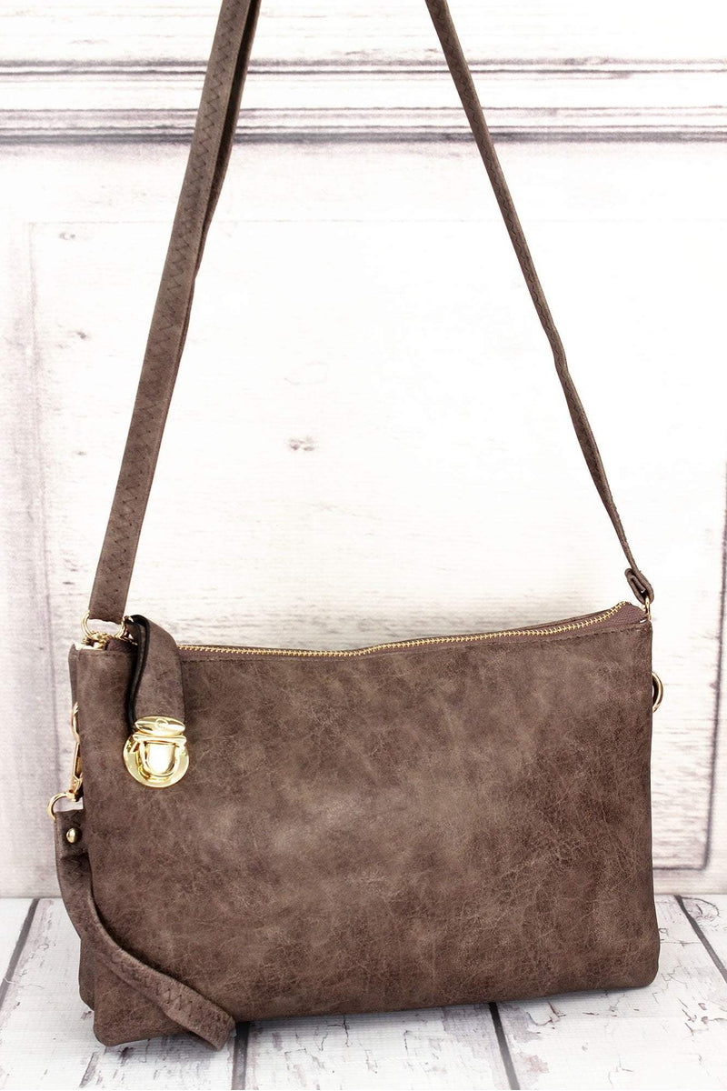 NGIL Taupe Gray Faux Leather Buckle Lock Crossbody Clutch