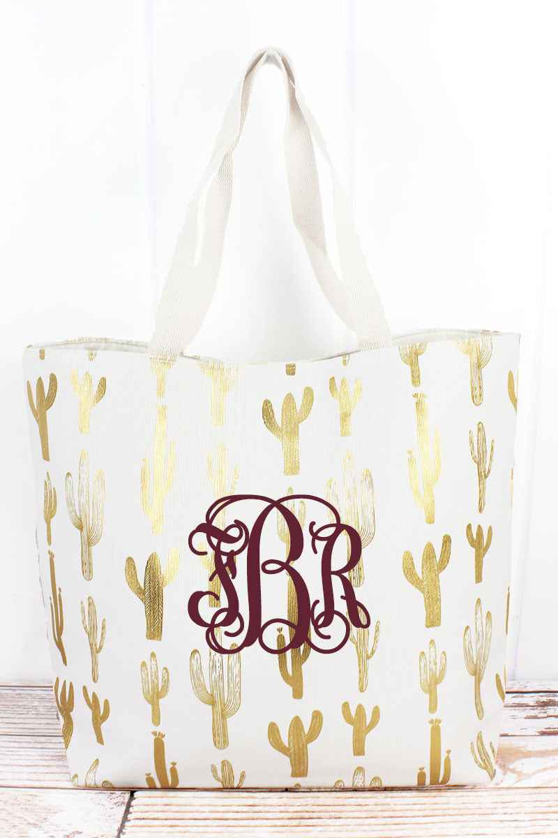 Golden Cactus White Shoulder Tote