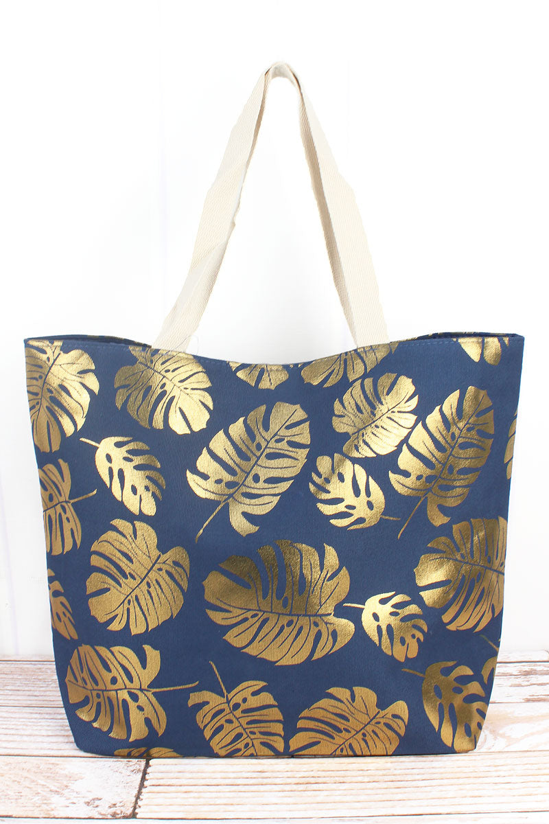 Golden Palms Navy Shoulder Tote