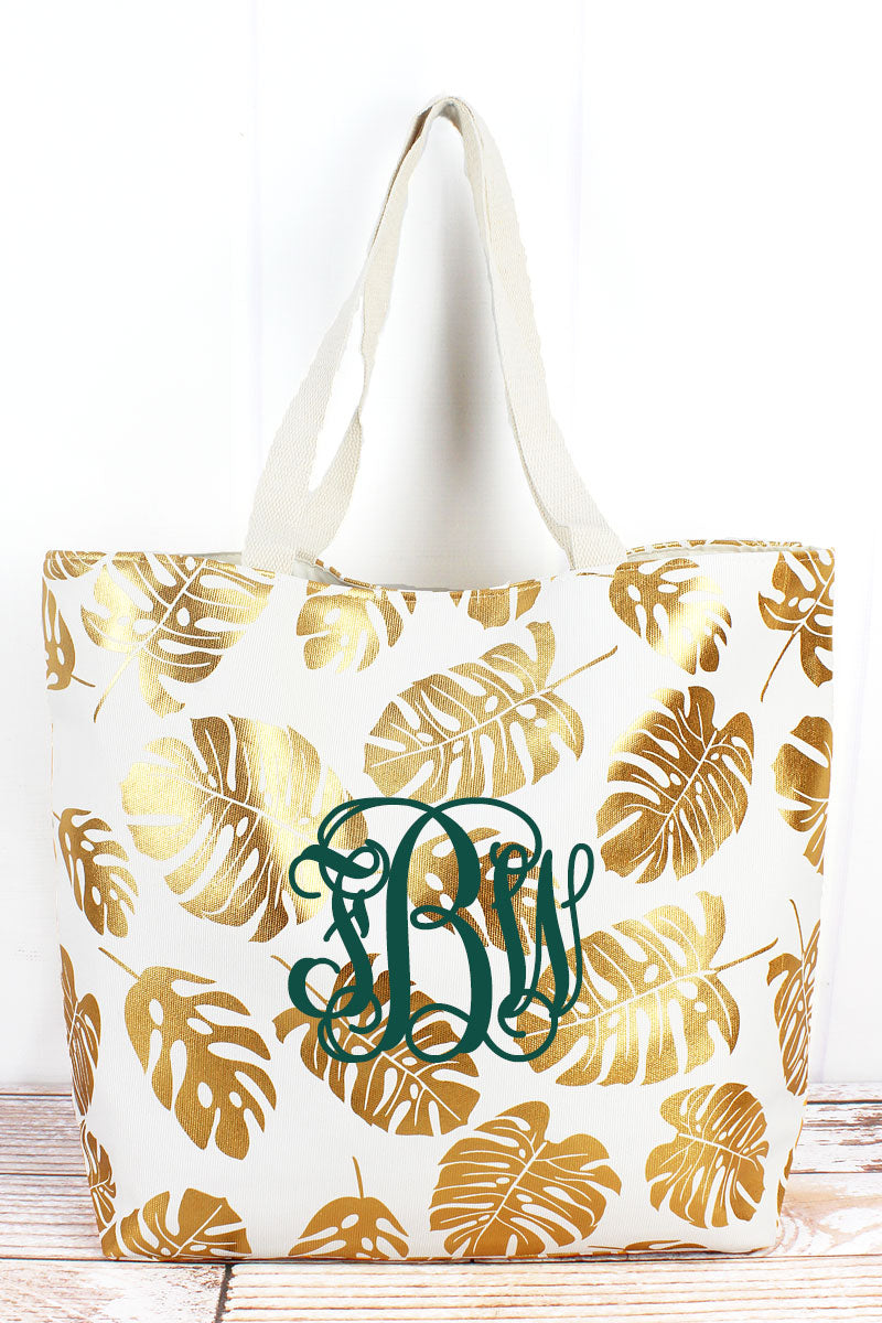 Golden Palms White Shoulder Tote
