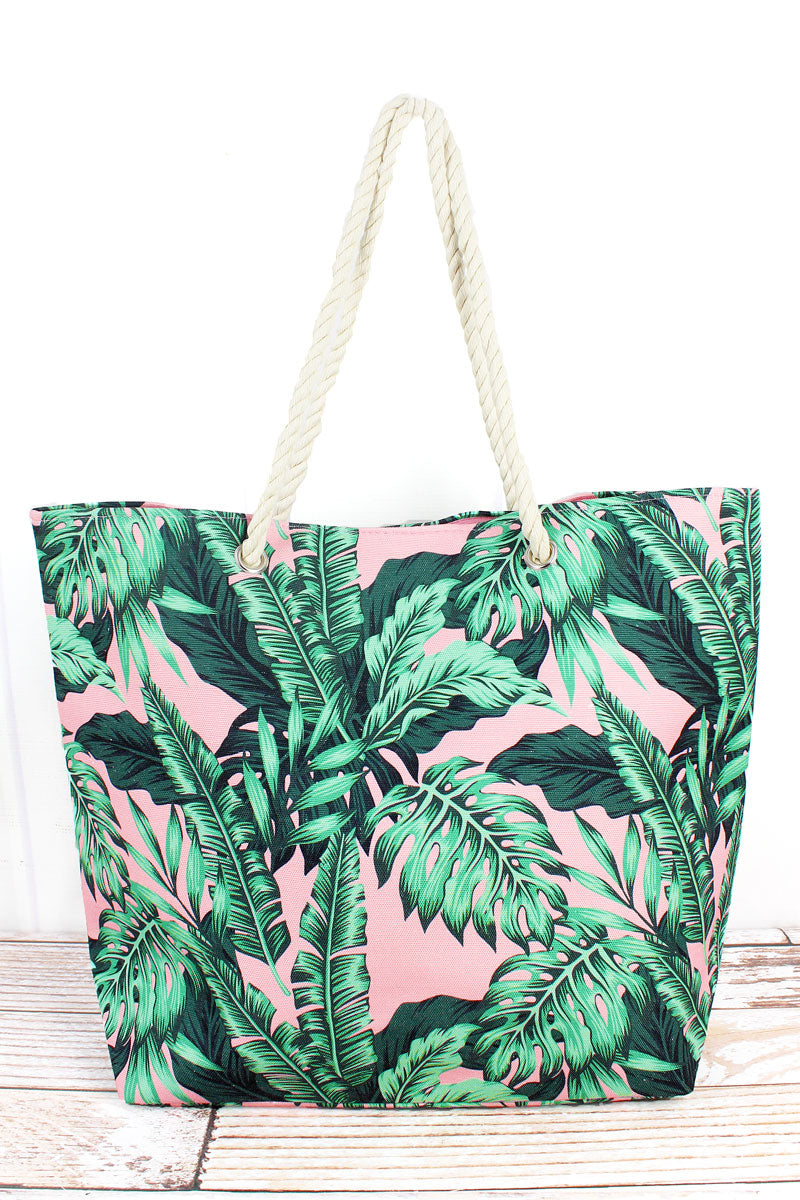 Palm Paradise Pink Rope Handle Beach Tote