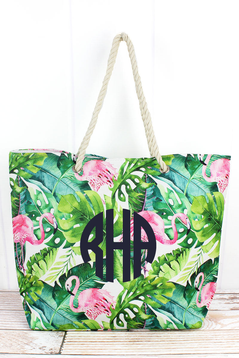Tropical Flamingo Rope Handle Beach Tote